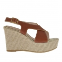 Woman's sandal in tan leather with rope platform and wedge 9