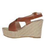 Sandale pour femmes en cuir brun avec plateforme et talon compensé en corde 9 - Pointures disponibles:  42