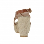 Woman's sandal in tan leather with rope platform and wedge 9 - Available sizes:  42