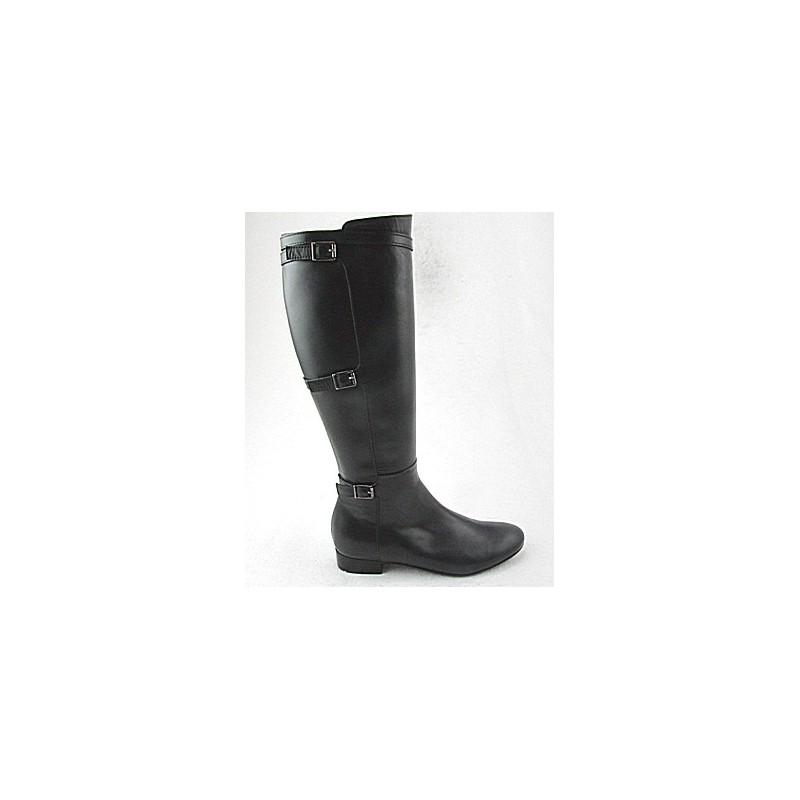 Damenstiefel mit Reißverschluß und Schnallen aus schwarzem Leder Absatz 2 - Verfügbare Größen:  32