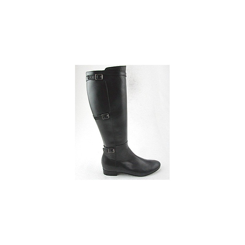 Woman's boot with zipper and buckles in black leather heel 2 - Available sizes:  32