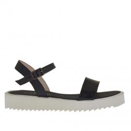 Sandalo da donna con cinturino in vernice e pelle stampata nera zeppa 2,5 - Misure disponibili: 31