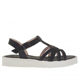 Sandalo da donna con cinturino Charleston in pelle nera zeppa 2,5 - Misure disponibili: 31