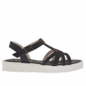 Woman's t-strap sandal in black leather wedge 2.5