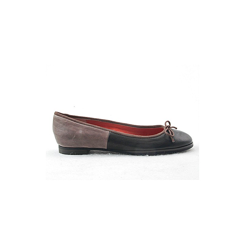 Ballerina in black and taupe leather - Available sizes:  32