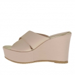 Woman's open mules in pink printed leather with crossed bands, platform and wedge 9 - Available sizes:  42