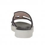 Mule ouvert pour femmes en cuir verni noir avec strass talon compensé 2.5 - Pointures disponibles:  31