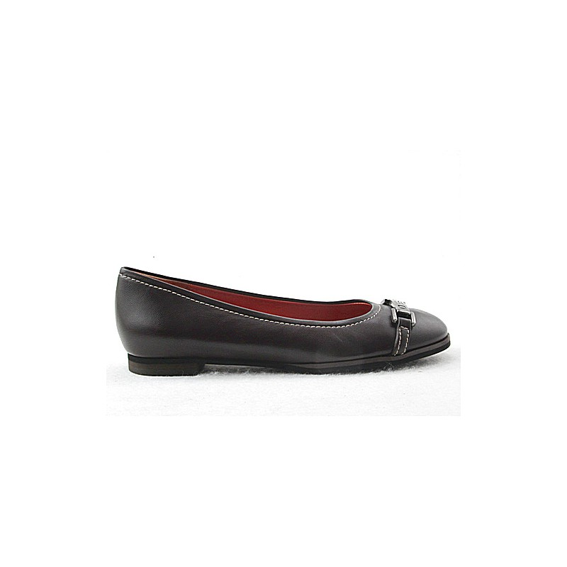 Woman's ballerina in dark brown leather with accessory heel 1 - Available sizes:  32