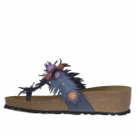 Woman's flip-flop mules with accessories, studs ad flowers in blue leather with cork wedge 4