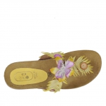 Woman's flip-flop mules with accessories, studs ad flowers in yellow and tan leather with cork wedge 4