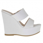 Woman's white printed open mules in with platform and wedge 12