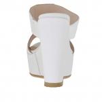 Mule ouvert pour femmes blanc imprimé avec plateforme et talon compensé 12 - Pointures disponibles:  42