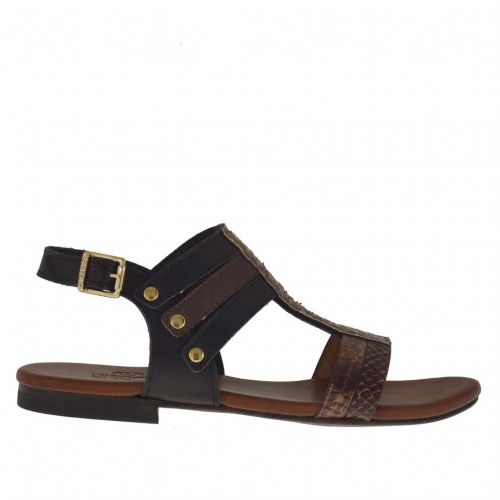 Woman's sandal with studs in black and dark brown python printed leather and dark brown snake-skin printed leather - Available sizes:  32