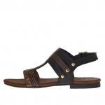 Sandale pour femmes avec goujons en cuir noir et brun foncé imprimé python et cuir brun foncé imprimé serpent - Pointures disponibles:  32
