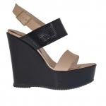 Sandale pour femmes en cuir verni imprimé noir, rose et cuivré avec plateforme et talon compensé 12 - Pointures disponibles:  42