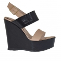 Sandale pour femmes en cuir verni imprimé noir, rose et cuivré avec plateforme et talon compensé 12