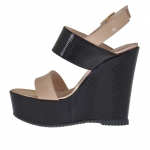 Woman's sandal in black, pink and copper printed patent leather with platform and wedge 12