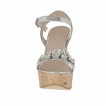 Woman's strap sandal with stones in silver patent leather with cork platform and heel 12 - Available sizes:  42