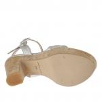 Sandalia para mujer con cinturon y piedras en charol plateado con plataforma y tacon 12 de corcho - Tallas disponibles:  42