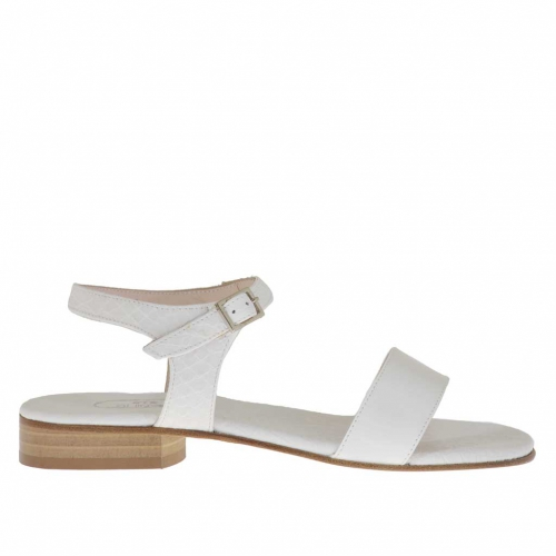 Woman's strap sandal in white snake-skin printed leather and white patent leather heel 2