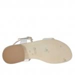 Sandale pour femmes avec courroie en cuir imprimé serpent et cuir verni blanc talon 2 - Pointures disponibles:  32