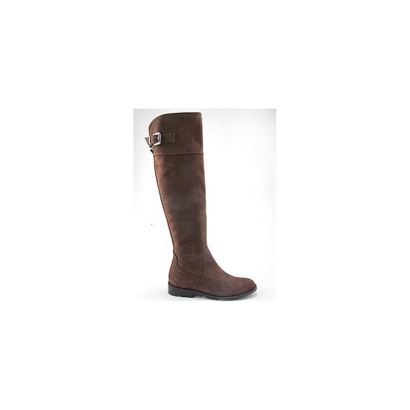 Kniehoher Damenstiefel mit Reissverschluss und Schnalle aus braunem Nabukleder Absatz 2 - Verfügbare Größen:  32