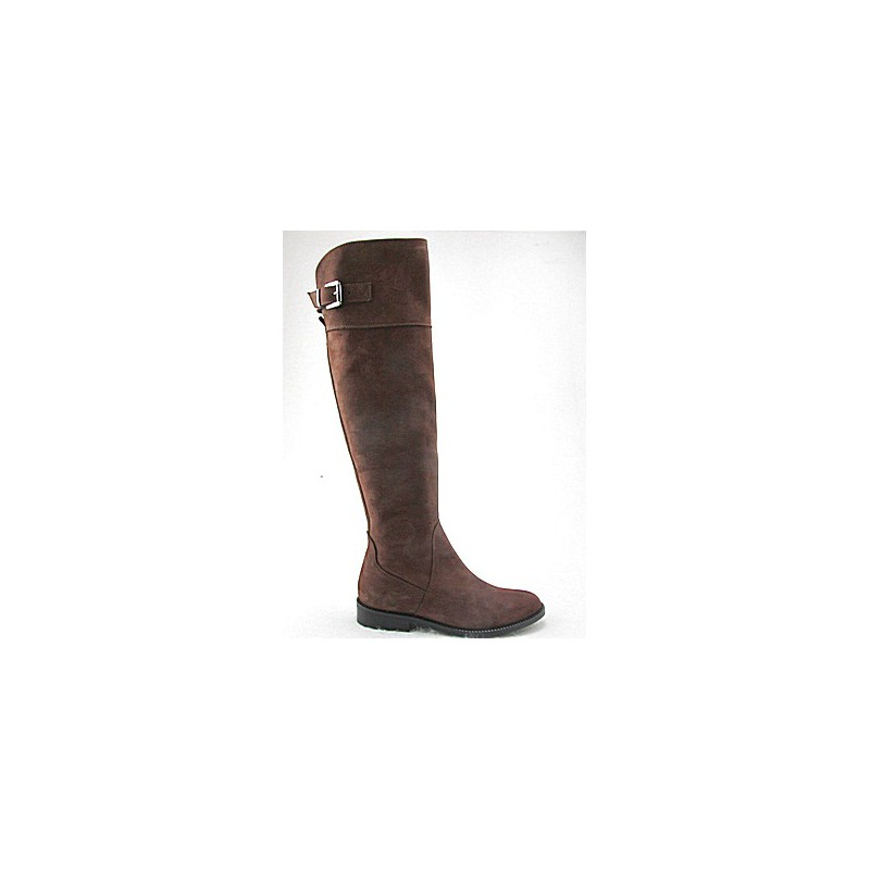 Over-the-knee woman's boot with zipper and buckle in brown nubuck leather heel 2 - Available sizes:  32