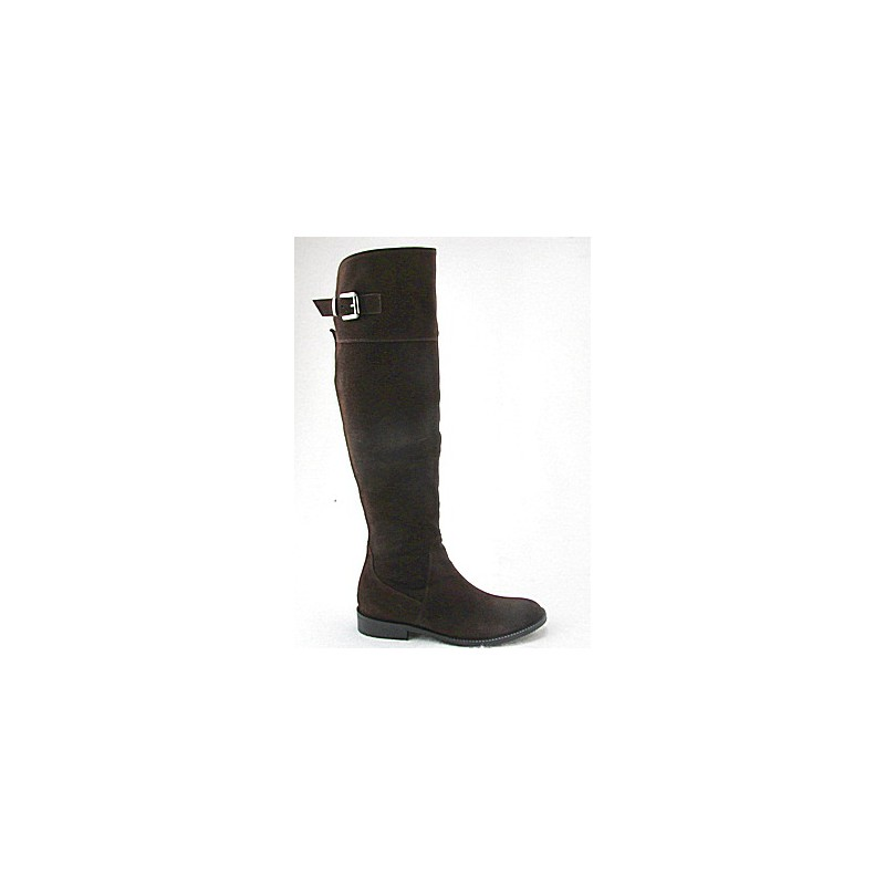 Over-the-knee boot with zipper and buckle in brown suede heel 2 - Available sizes:  32