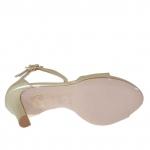 Escarpin ouvert pour femmes avec plateforme et courroies en T en cuir platine talon 10 - Pointures disponibles:  46, 47