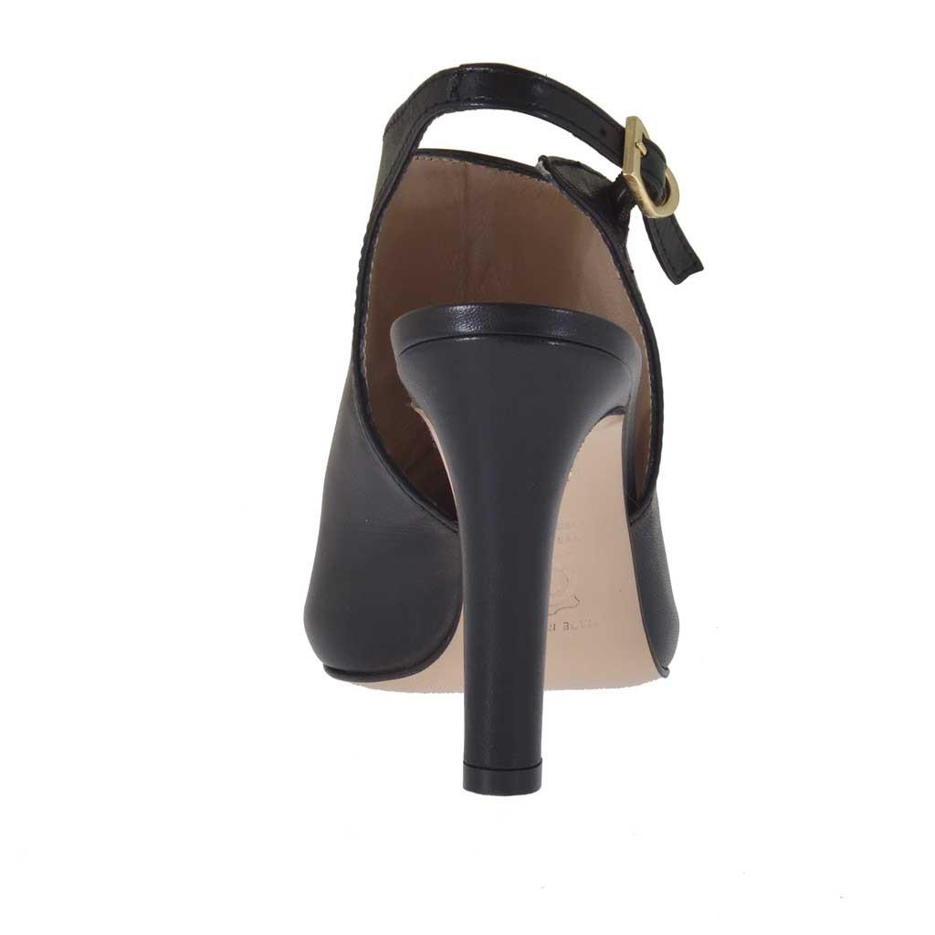sandale pour femmes en cuir noir avec plateforme et talon. Black Bedroom Furniture Sets. Home Design Ideas
