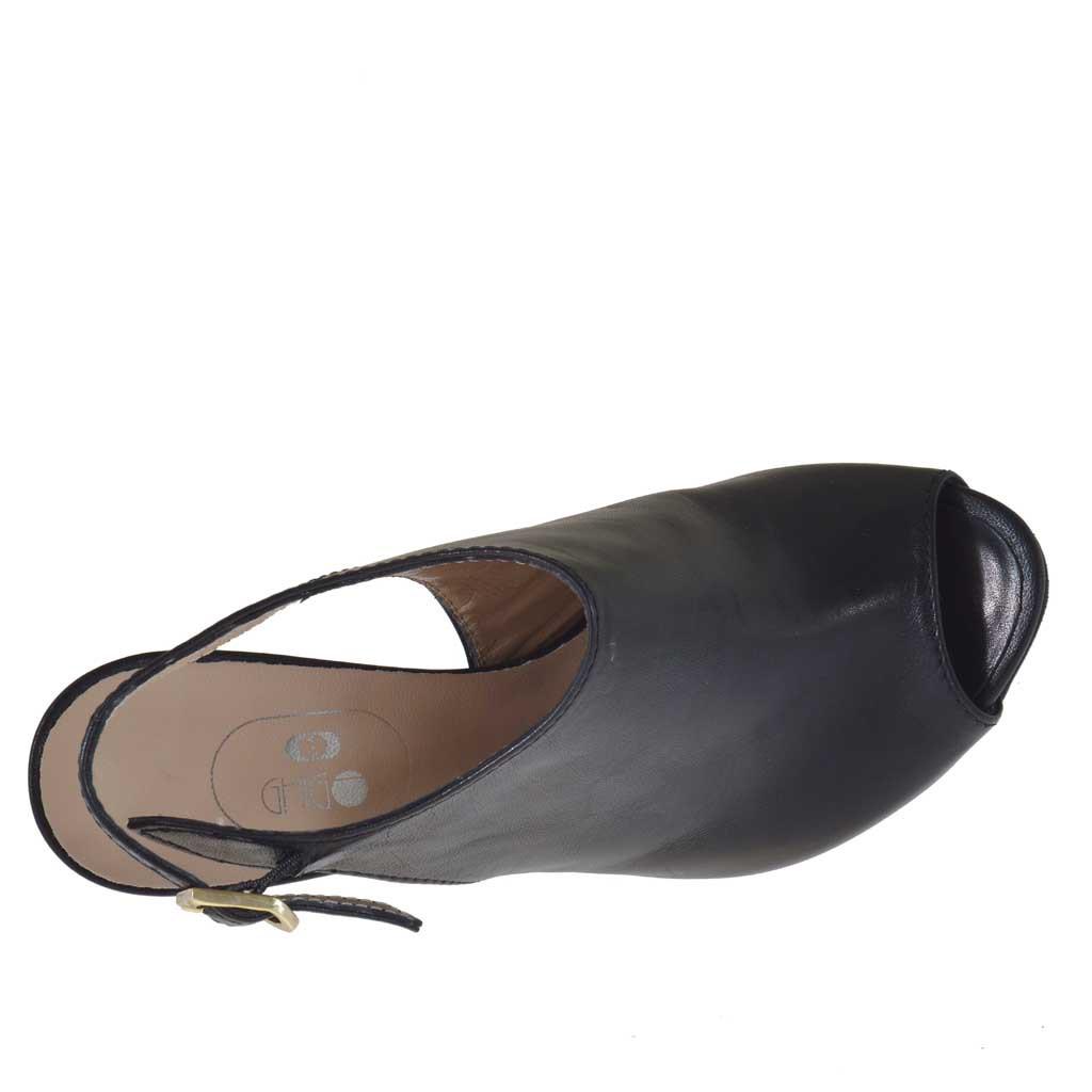 sandale pour femmes en cuir noir avec plateforme et talon 10 ghigocalzature. Black Bedroom Furniture Sets. Home Design Ideas