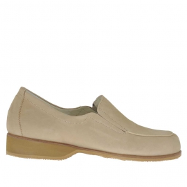 Scarpa accollata da donna con elastici in nabuk beige tacco 3 - Misure disponibili: 42, 44