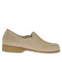 Chaussure fermée pour femmes avec elastiques en cuir nabuk beige talon 3