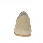 Chaussure fermée pour femmes avec elastiques en cuir nabuk beige talon 3 - Pointures disponibles:  44
