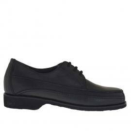 Herrenschuh mit Schnürsenkeln aus schwarzem Leder  - Verfügbare Größen:  36, 49