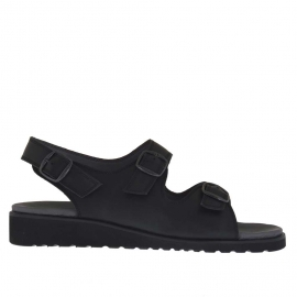 Men's sandal with three buckles in black leather  - Available sizes:  47, 48