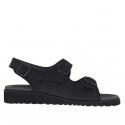 Sandale pour hommes avec trois boucles en cuir noir