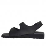 Sandale pour hommes avec trois boucles en cuir noir - Pointures disponibles:  47, 48