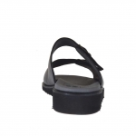 Men's open mule in black leather with buckles