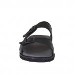 Mule ouvert pour hommes en cuir noir avec boucle - Pointures disponibles:  47