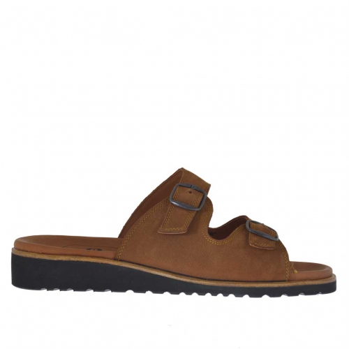 Men's open mule in tobacco brown nubuck leather with buckles