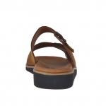 Mule ouvert pour hommes en cuir nubuck brun tabac avec boucle - Pointures disponibles:  48, 49