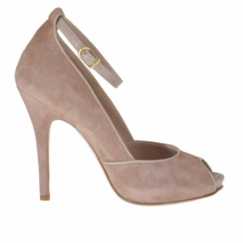Woman's open platform pump with strap in earth-tones suede and beige leather heel 11 - Available sizes:  42