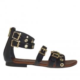 Scarpa aperta da donna con cinturini, cerniera, fibbie e borchie oro in pelle nera - Misure disponibili: 32
