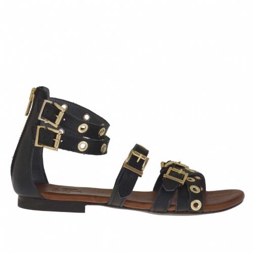 Chaussure ouvert pour femmes avec fermeture éclair, courroies, boucles et goujons or en cuir noir  - Pointures disponibles:  32