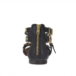 Woman's open shoe with zipper, straps, golden buckles and studs in black leather  - Available sizes:  32