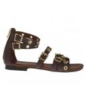 Chaussure ouvert pour femmes avec fermeture éclair, courroies, boucles et goujons or en cuir brun foncé