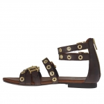 Woman's open shoe with zipper, straps, golden buckles and studs in dark brown leather - Available sizes:  32