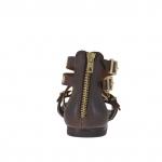 Chaussure ouvert pour femmes avec fermeture éclair, courroies, boucles et goujons or en cuir brun foncé - Pointures disponibles:  32