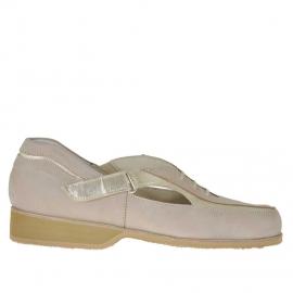 Scarpa da donna accollata con velcro in nabuk sabbia e pelle platino - Misure disponibili: 45